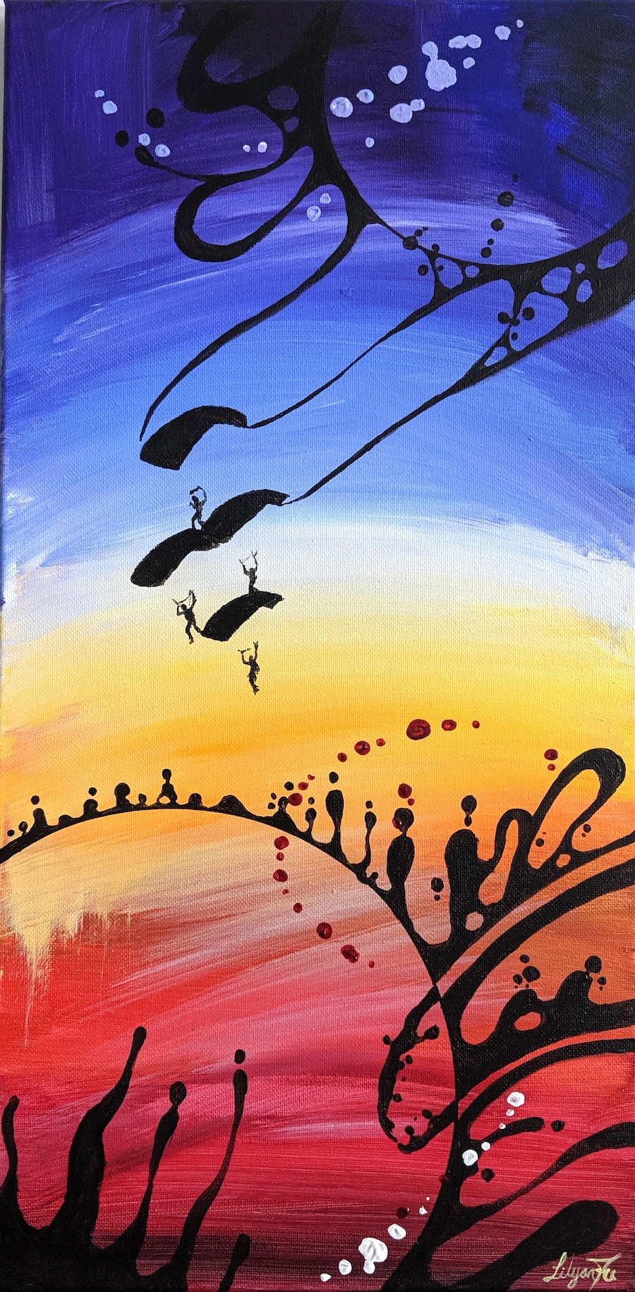 "Fly Free #5  Acrylic on Canvas - 10"" x 20"""