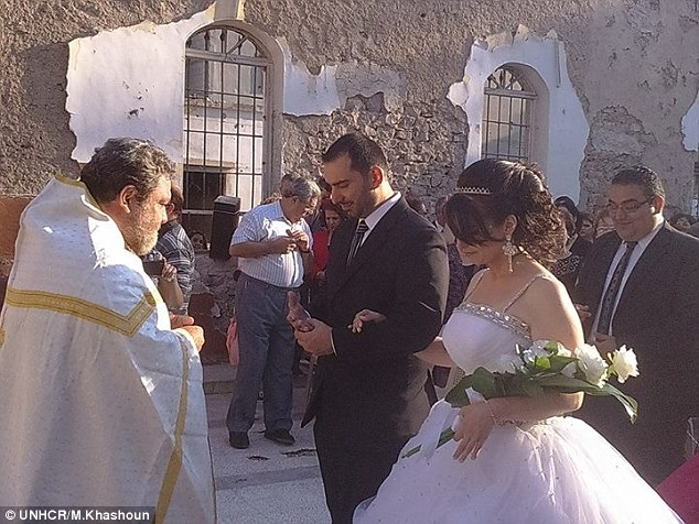 Couple marrying in Homs, Syria