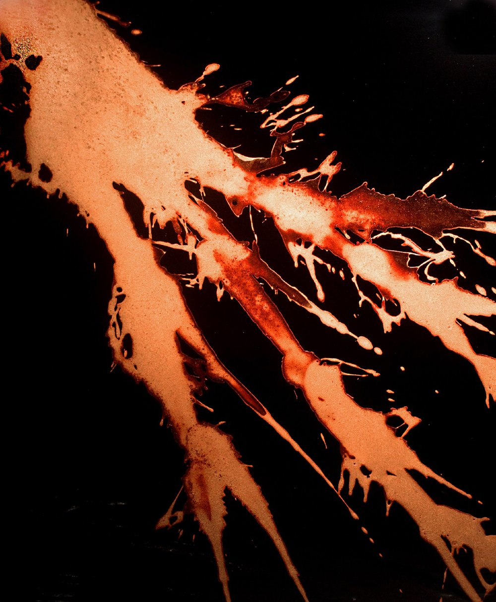 """FKTS 6 ,  2012  44 x 36 x 3""""  blood, copper, preserved on plexiglass, UV resin Collection of the Princeton University Art Museum"""