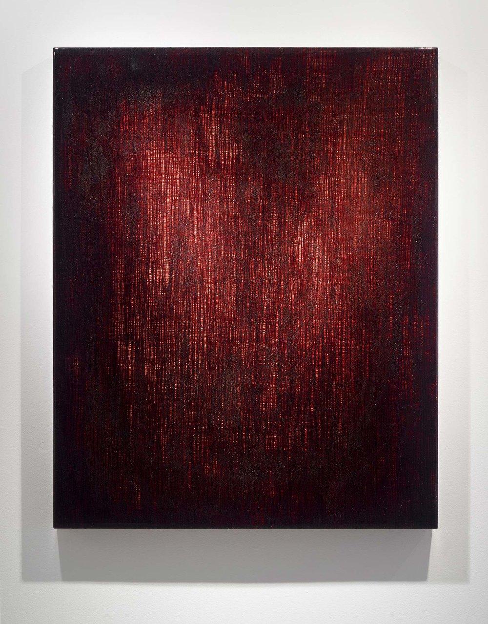 """ROZE 18 ,  2012  60 x 48 x 3""""  blood, gauze, preserved on plexiglass, UV resin"""