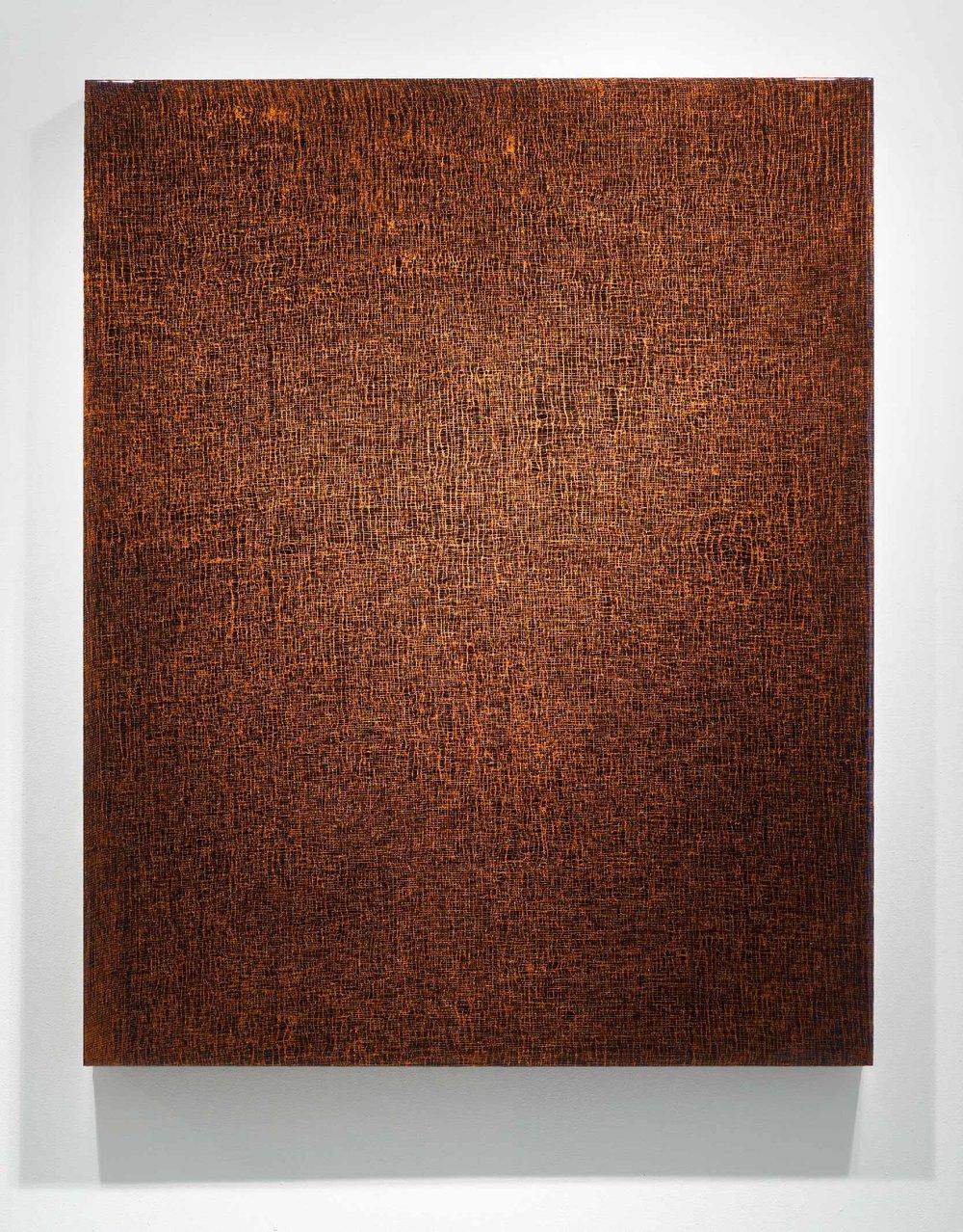 """ROZE 14 ,  2012  60 x 48 x 3""""  blood, gauze, copper, preserved on plexiglass, UV resin"""