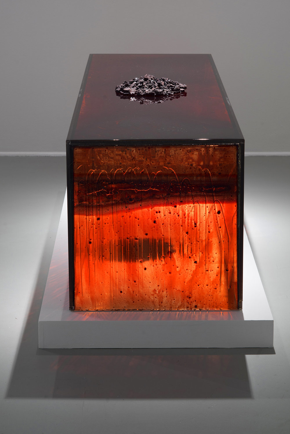 "CONFIGURATION,   2011  24 x 24 x 84"" each  blood, plexiglass, UV resin, pile of unpreserved blood dust"