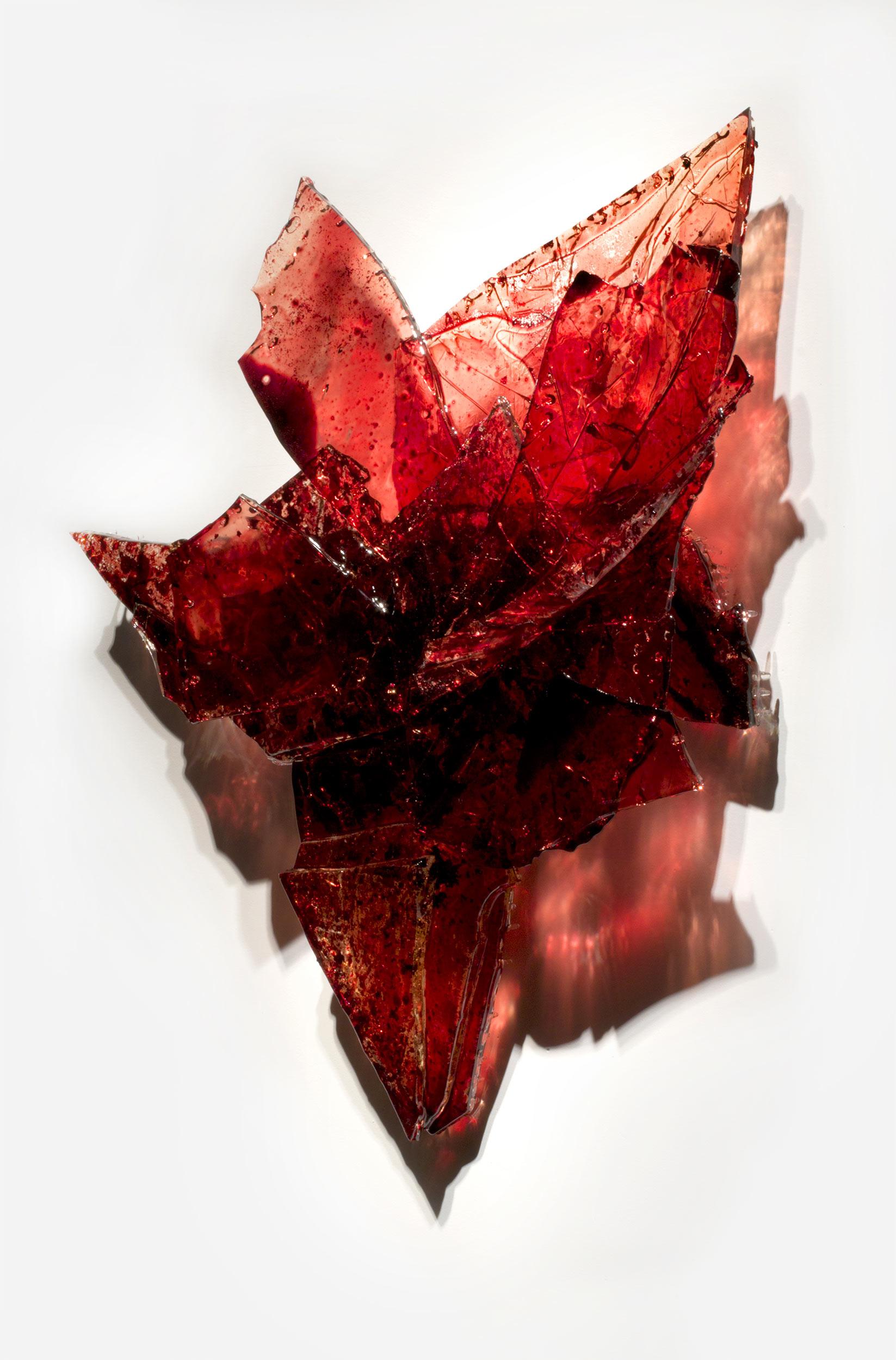 "Untitled,   2018  32 x 30 x 5""  blood, UV resin"