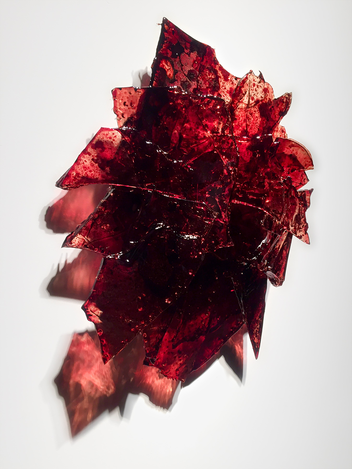 "Untitled,   2018  27 x 27 x 7""  blood, UV resin"