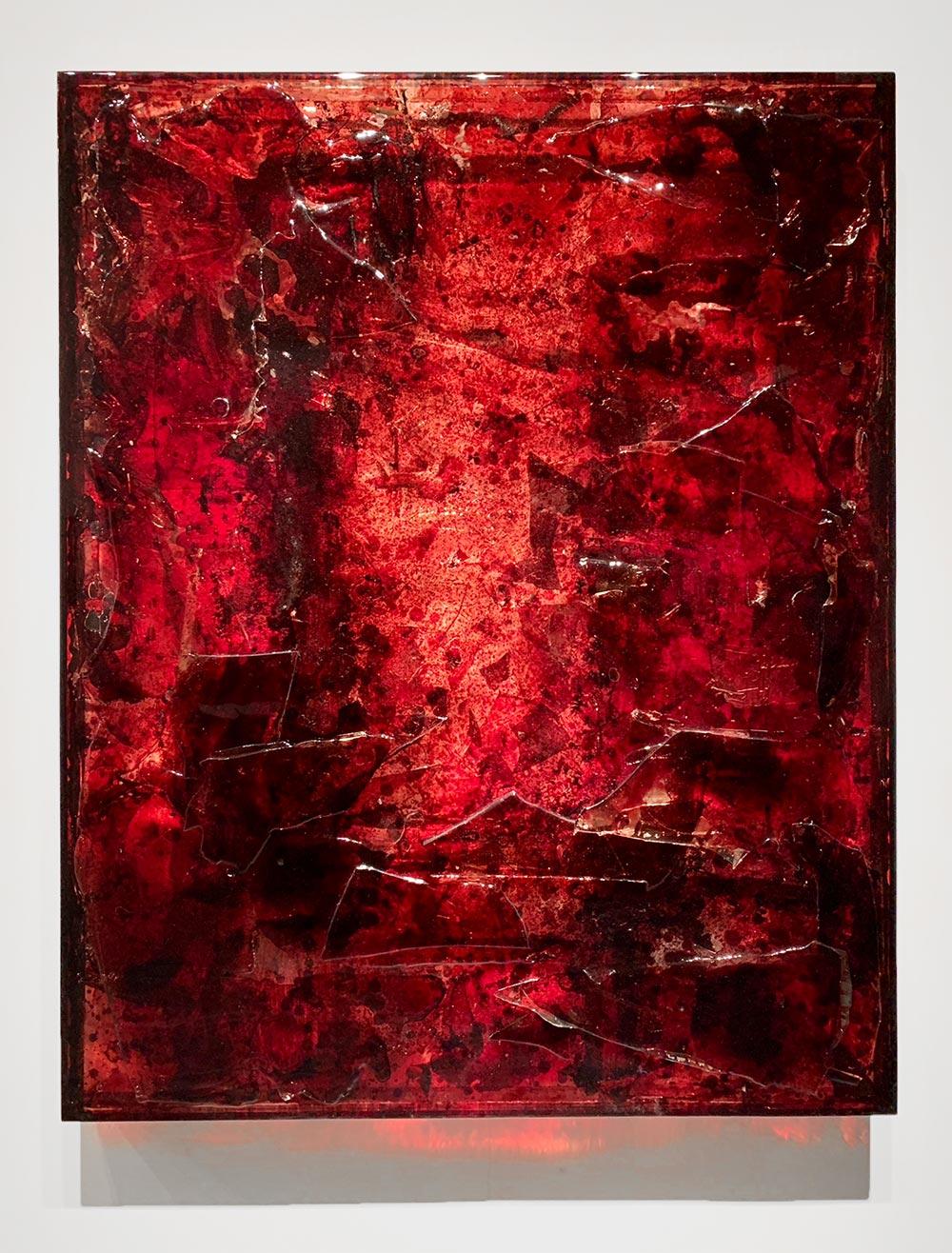 """BRS3 ,  2017  60 x 48 x 4""""  blood, plexiglass, UV resin"""