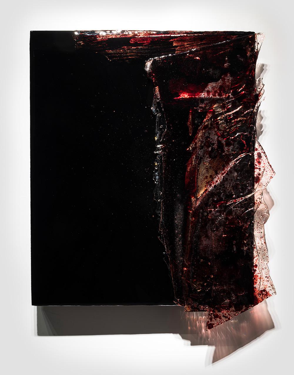"FKBLK-BRS ,  2017  48 x 40 x 4""  blood, gauze, preserved on plexiglass, UV resin"