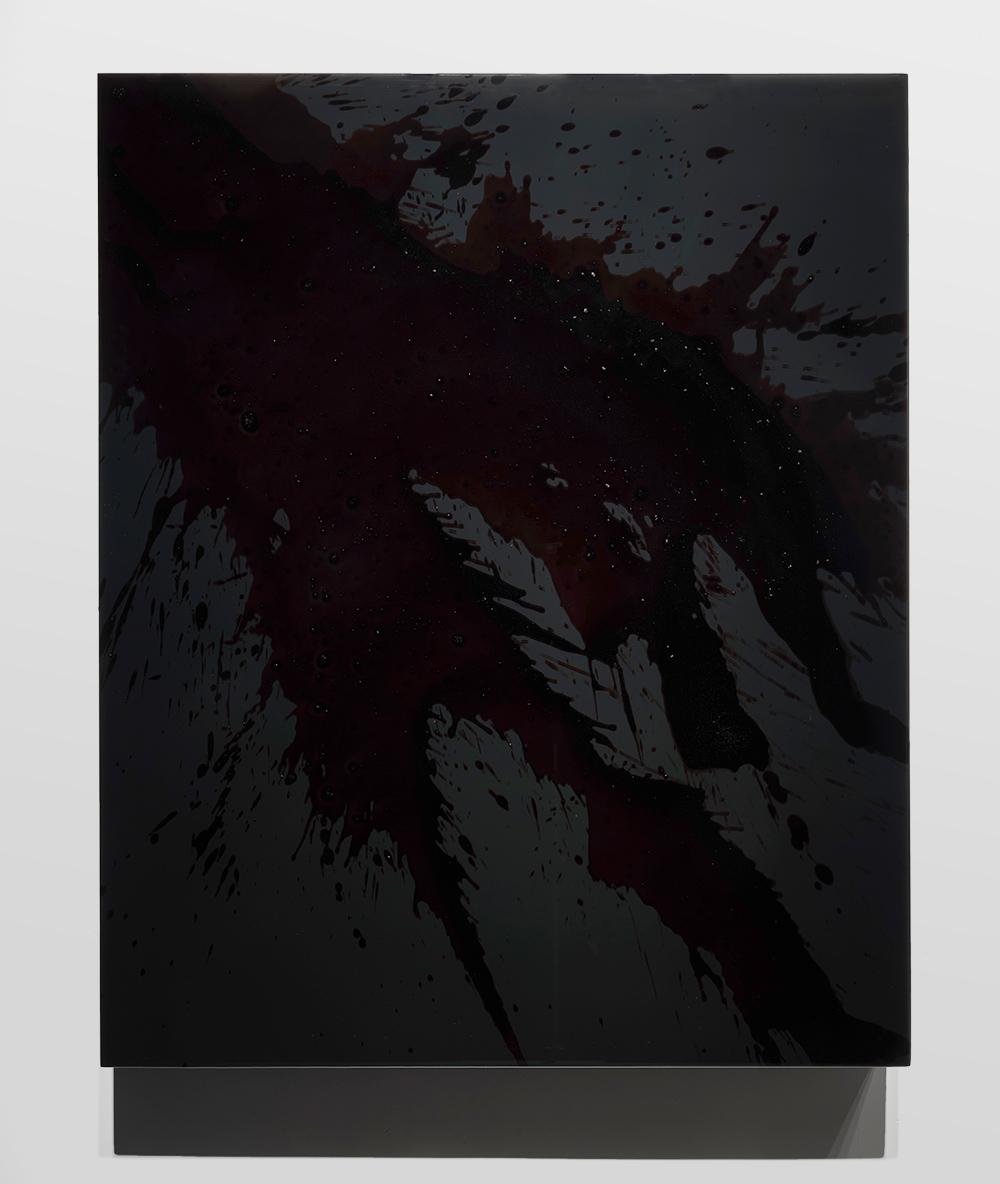 "FKBLK2,   2016  44 x 36 x 3""  blood, preserved on plexiglass, UV resin"