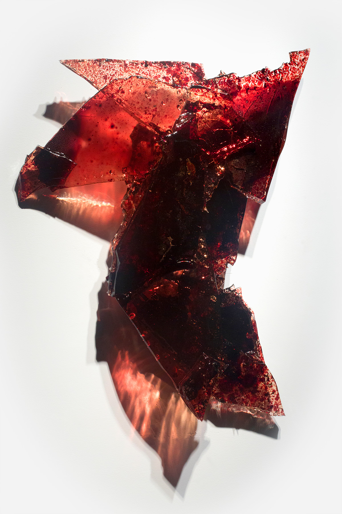 "Untitled,   2018  25 x 24 x 3""  blood, UV resin"