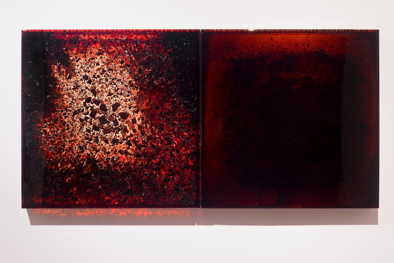 """BDBC + Blood Dust 6 ,  2012-2014  36 x 72 x 3""""  blood, blood dust, copper, plexiglass, UV resin"""