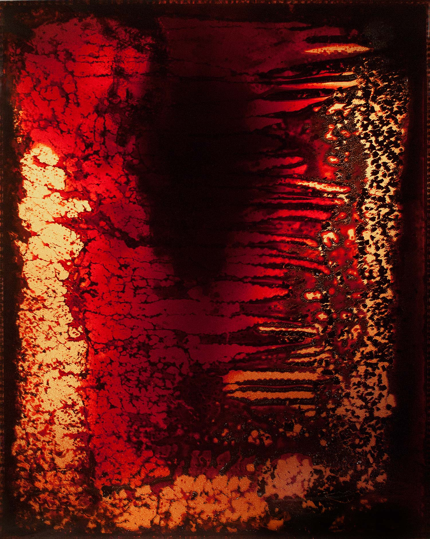 "HF4 ,  2012  60 x 48 x 3""  blood, copper, plexiglass, UV resin"