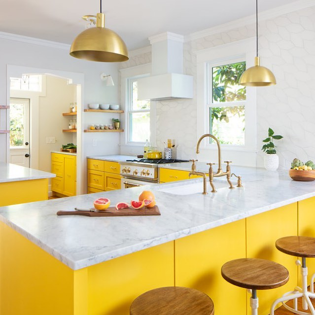 Yellow kitchen, we can't quit you! This will be our happy place for all of January. Hope the owners don't mind! #hatchworks 📷 by @robert_gomez range by @bigchillappliances, tile by @fireclaytile, pendants by @schoolhouse, cutting board by @scheffler_designcraft, faucet by @perrinandrowe