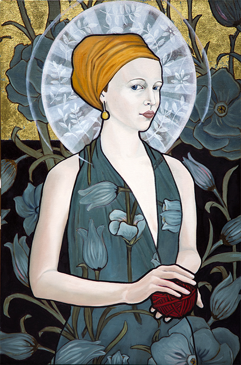 """Madame M.  / 33"""" x 22"""" / oil and gold leaf on linen"""