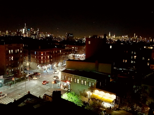 Dizzy like the view from the roof of the building I'm staying in this weekend, in Brooklyn. But there's a little yellow-awning down there, a coffee shop I've visited several times already that serves delicious food and hangs interesting art from artists local to right here. And I'm staying in the apartment of an artist who is local to middle GA and also trying to be local right here. Those tamp down the dizziness somewhat, long enough for a visit anyway.