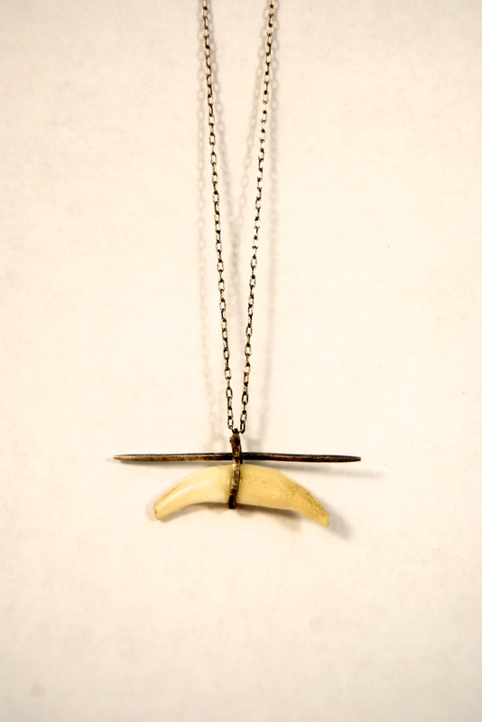 Fox Tooth and Silver Necklace