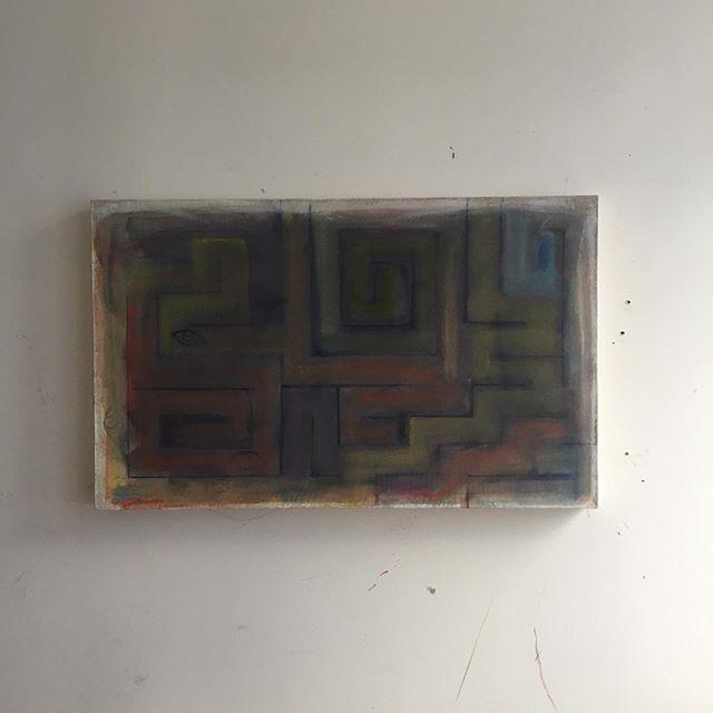 "New maze, 32x20"" #studio #maze #painting"