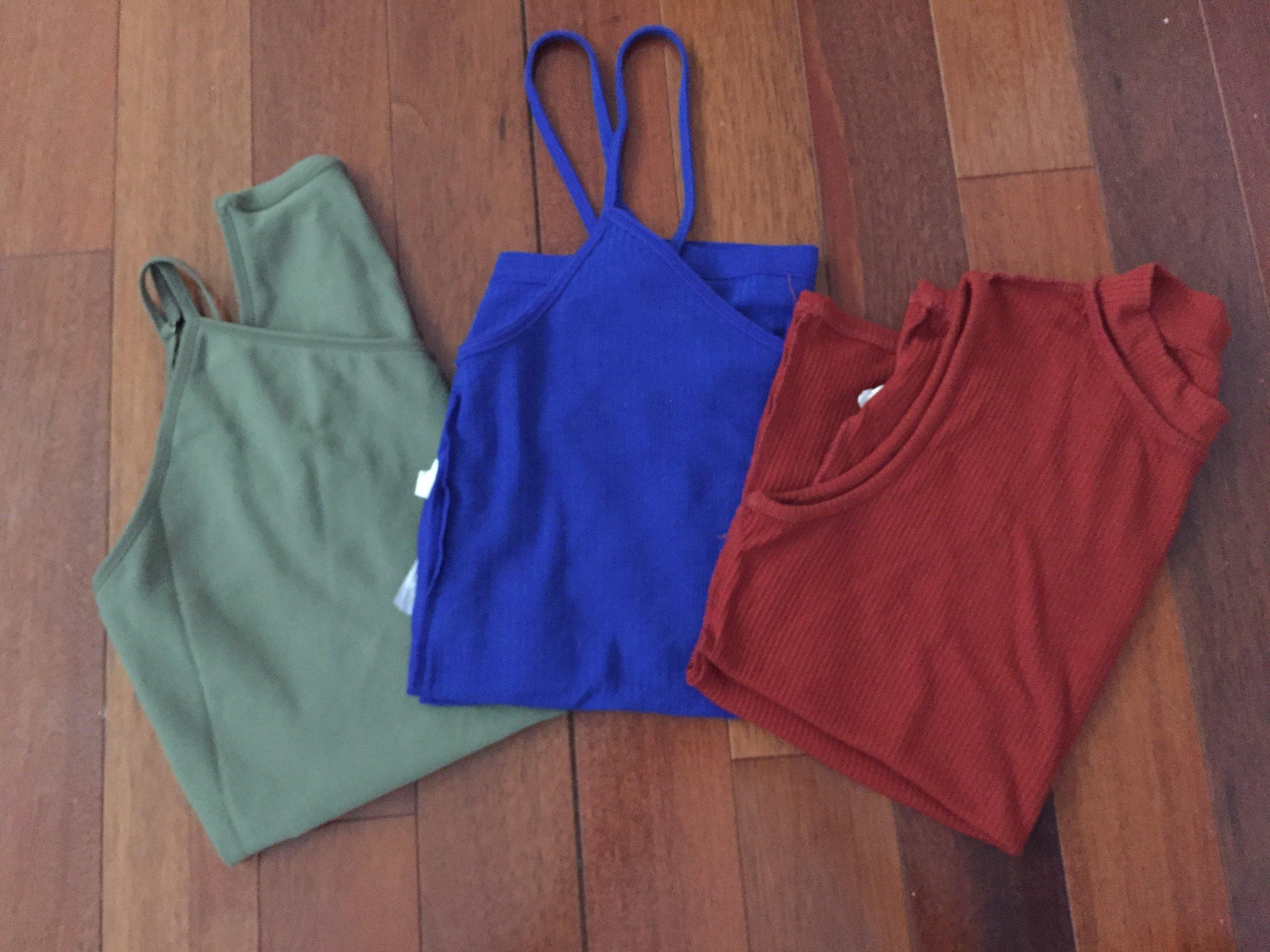 3 sleeveless shirts