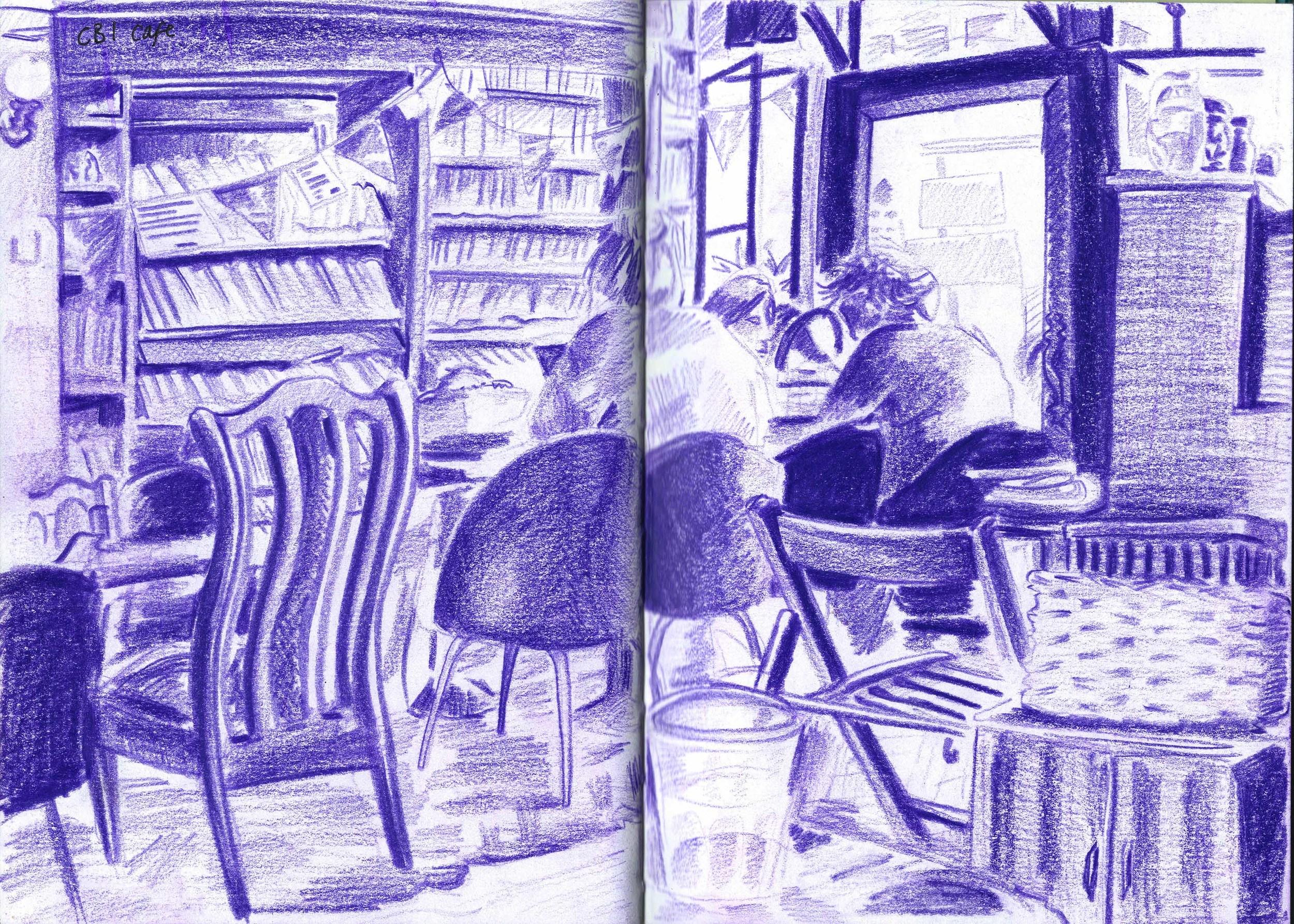 CB1 Cafe tonal drawing