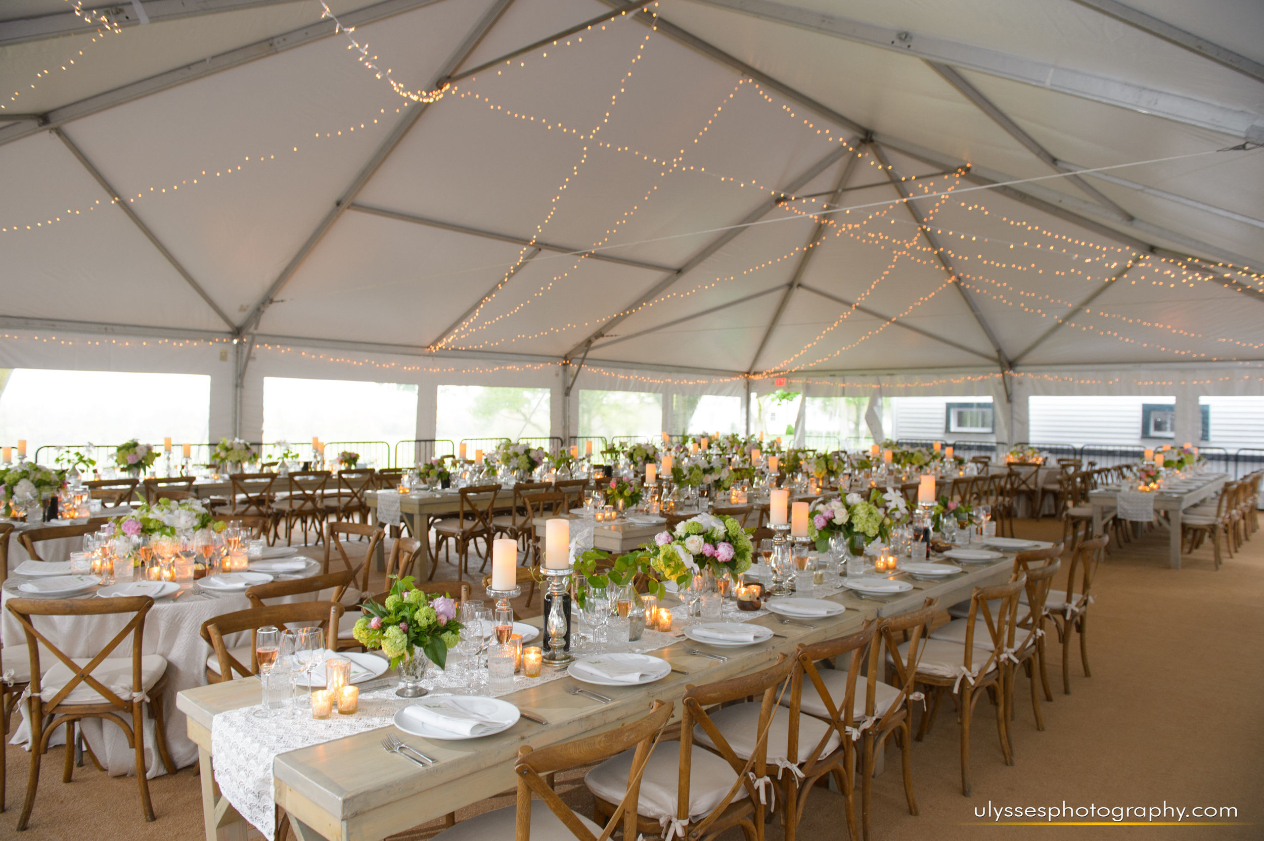 26 At Home Wedding Tent Reception Farmhouse Table Crossback Chairs Lace Runners.jpg