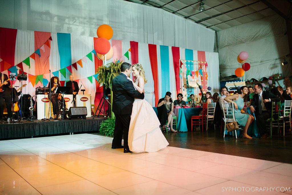 36 Aribella Events Vintage Carnival Theme Wedding Reception Airport Hangar First Dance.jpg