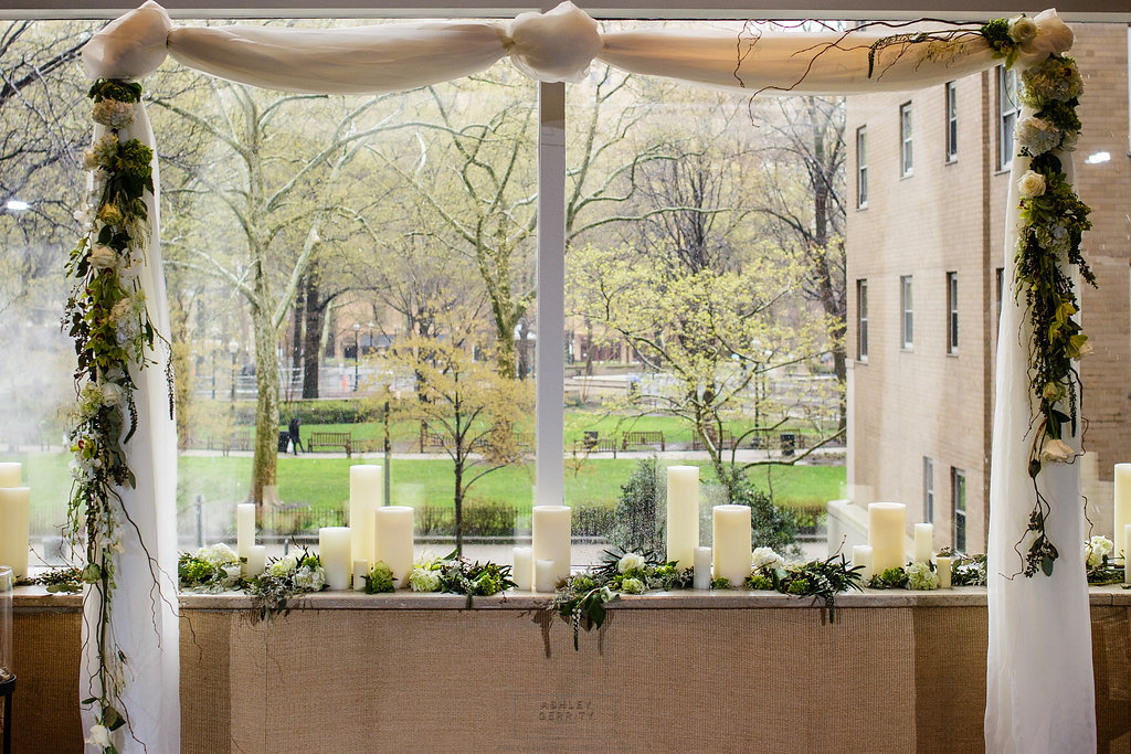 18 Philadelphia Wedding Intimate Wedding Rittenhouse Hotel Ceremony Backdrop.jpg