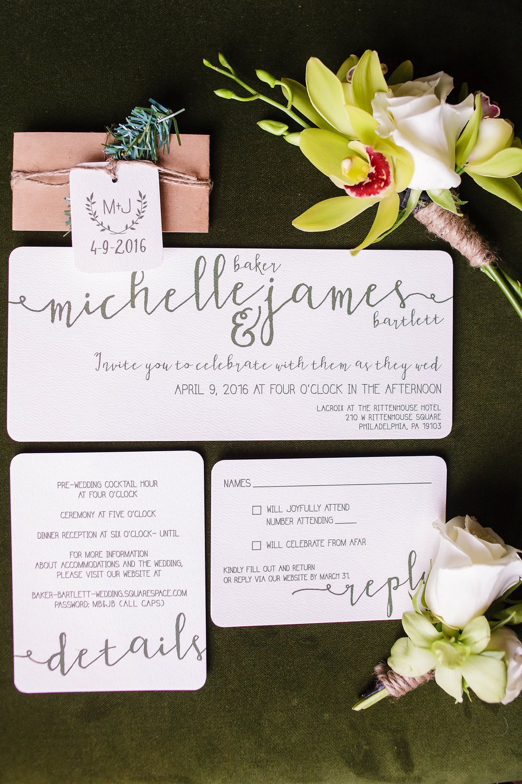 02 Philadelphia Wedding Intimate Wedding Invitation Suite Green Orchid Green Rose.jpg