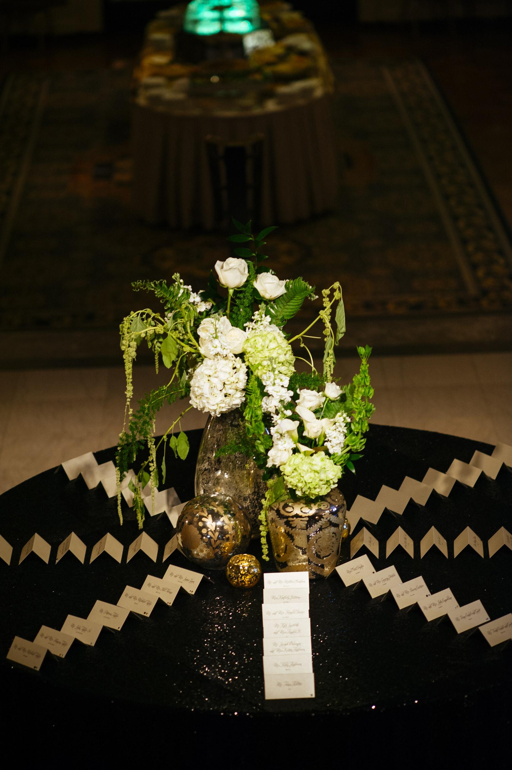 23 Hotel DuPont Wedding Escort Card White Hydrangea Green Amaranthus.jpg