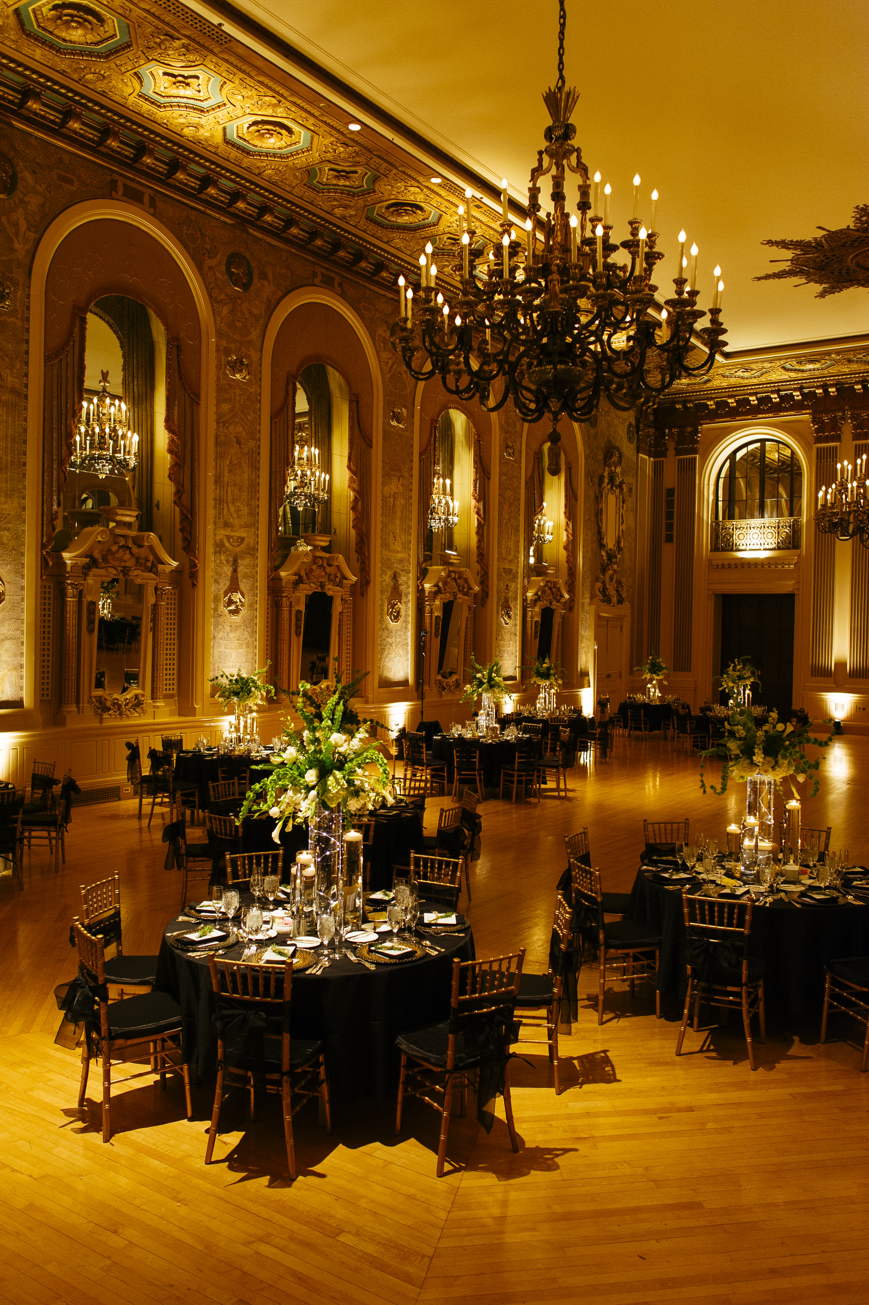 25 Hotel DuPont Wedding Reception Candlelight Green White Flower Centerpieces.jpg