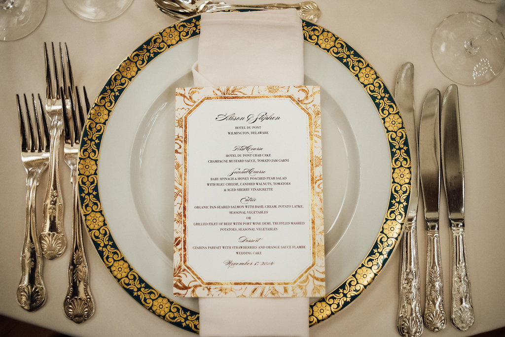 014 Hotel DuPont Wedding Place Setting Aribella Events.jpg