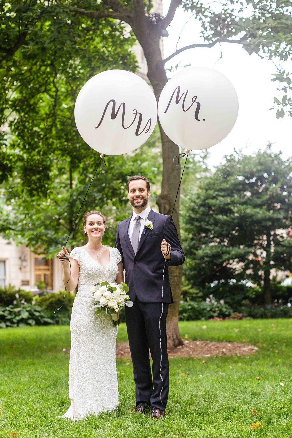 12 Philadelphia Wedding Rittenhouse Square Kate Spade Mr and Mrs Balloons .jpg