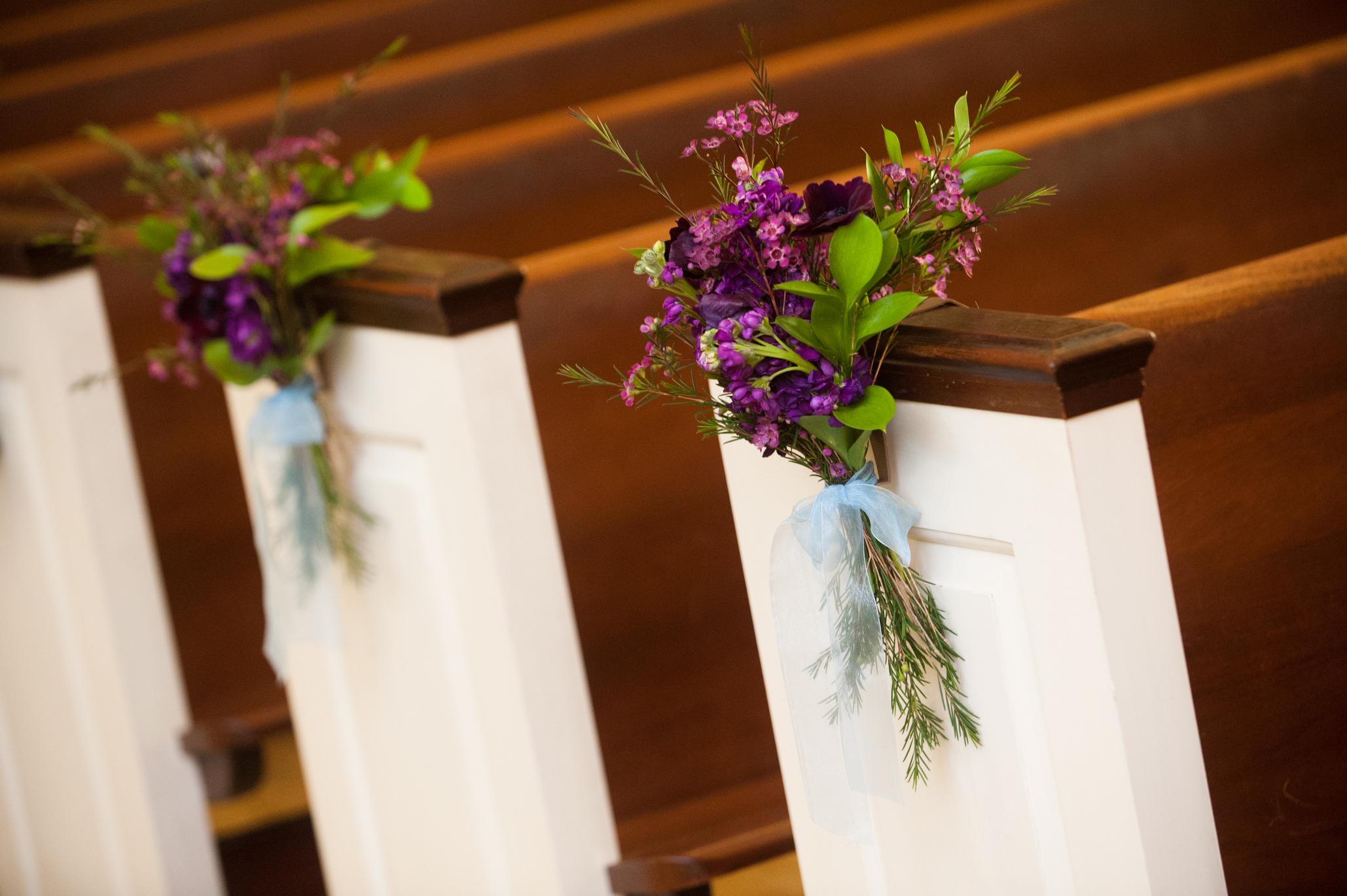 14 Old St Josephs Wedding Philadelphia Pew Decorations.JPG