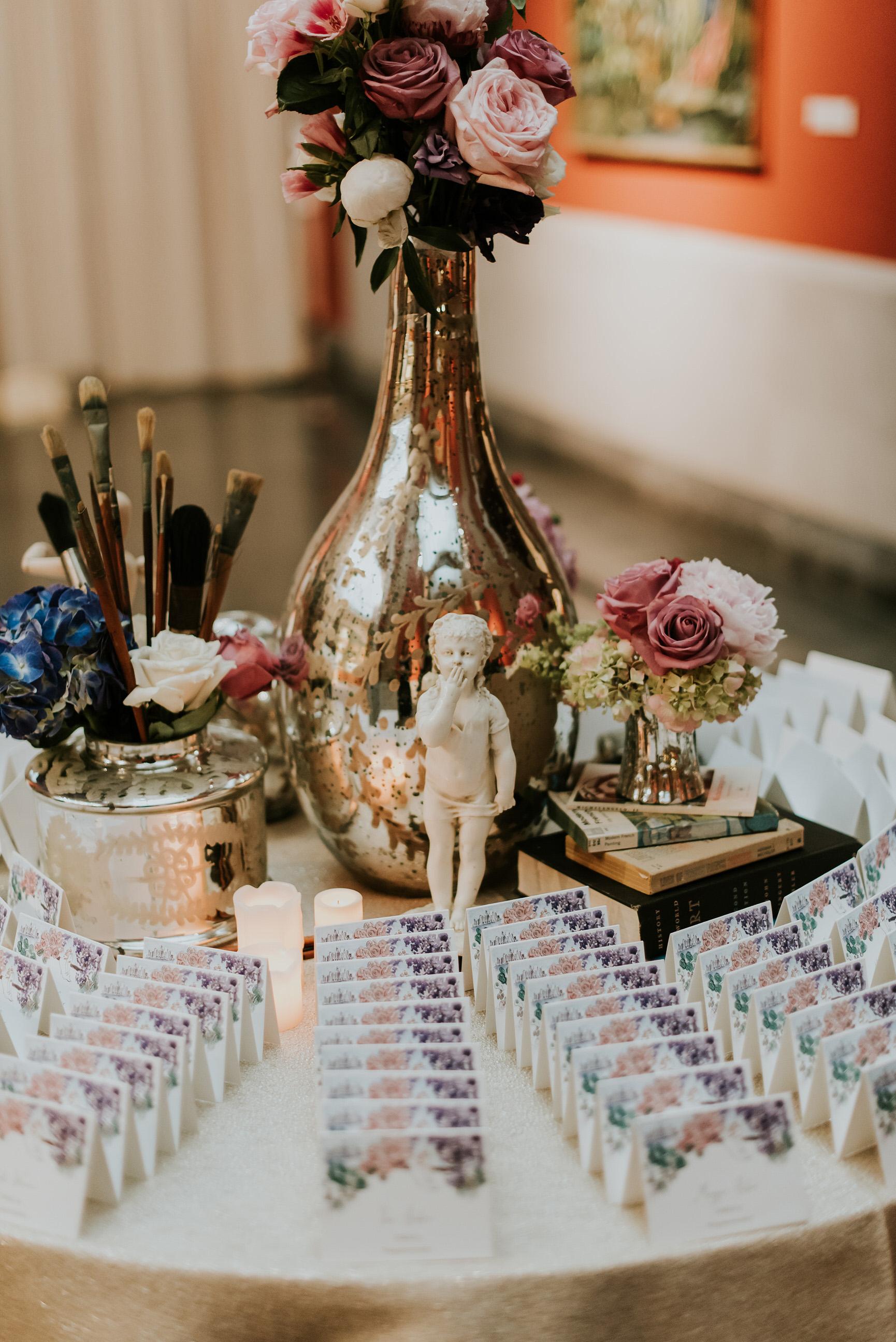 51 Art Museum Wedding Centerpiece Hydrangea Rose Blush Mauve Navy Mercury Glass Escort Card Table.jpg