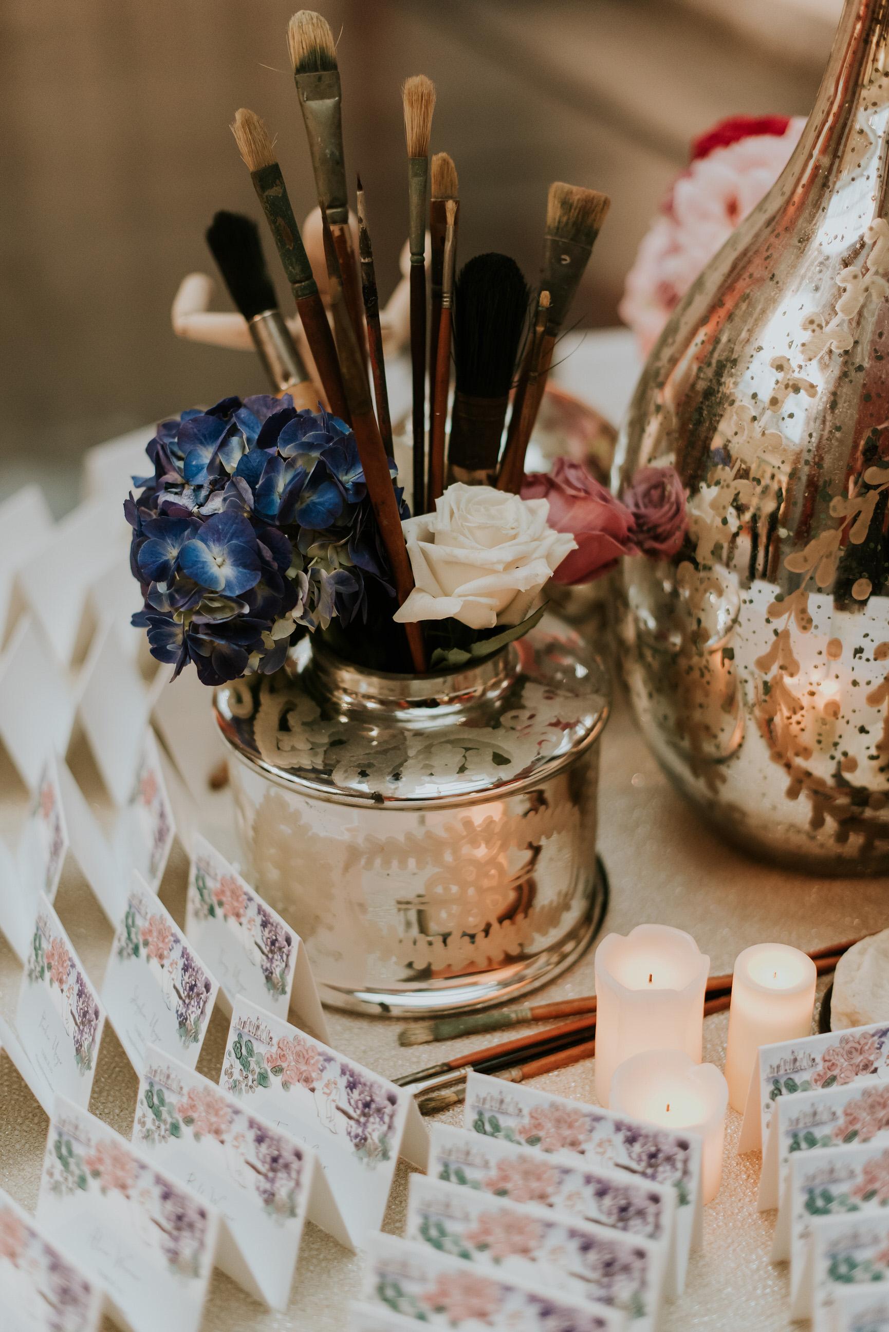 53 Blue Hydrangea Pink Rose Lavender Rose Paintbrushes Mercury Glass Art Museum Wedding.jpg