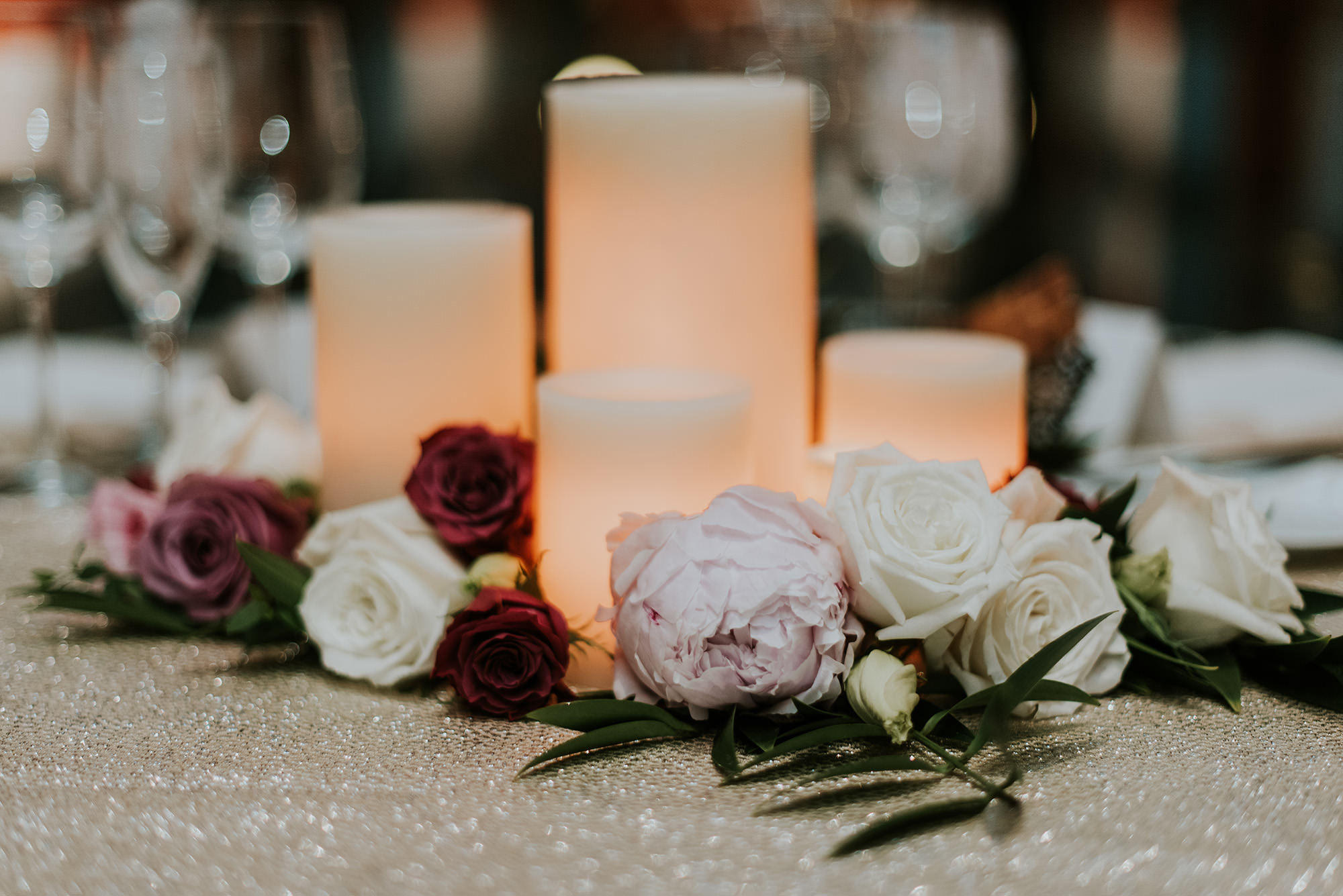 56 Sweetheart Table Candles Roses Peonies Blush Mauve Greenery PAFA Wedding.jpg