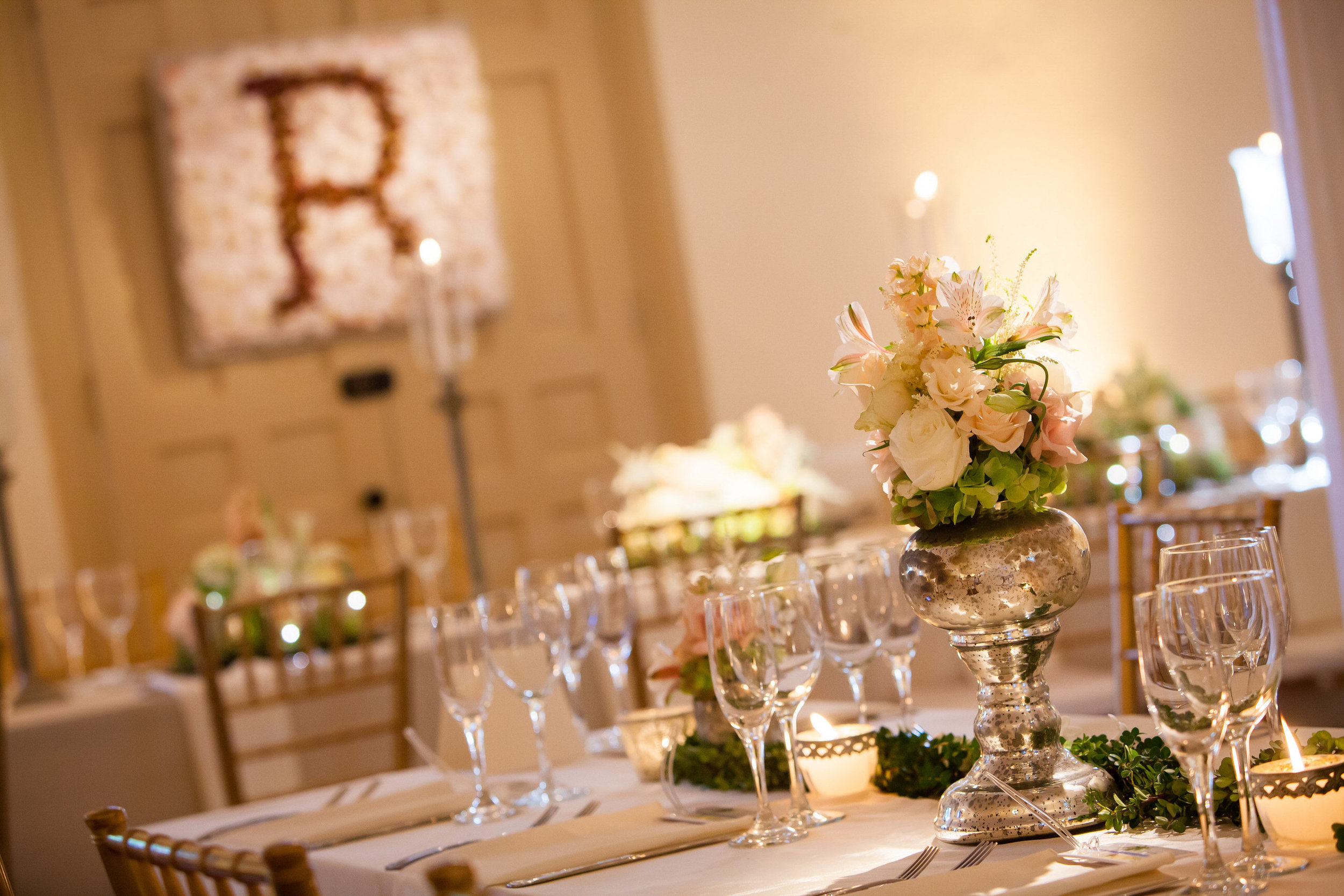 67 Soft Pink Blush Pale Green Mercury Glass Orchid Monogram Reception Historic Yellow Springs.jpg