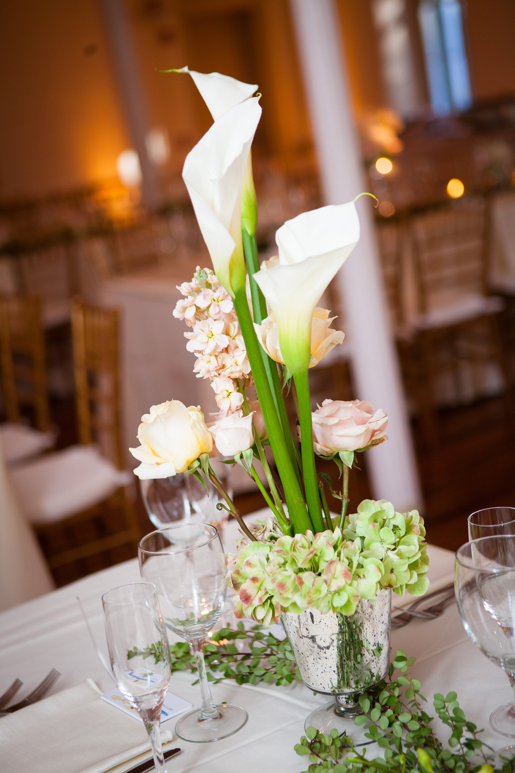 70 White Calla Lily Pink Rose Green Hydrangea Mercury Glass Centerpiece Historic Yellow Springs.jpg