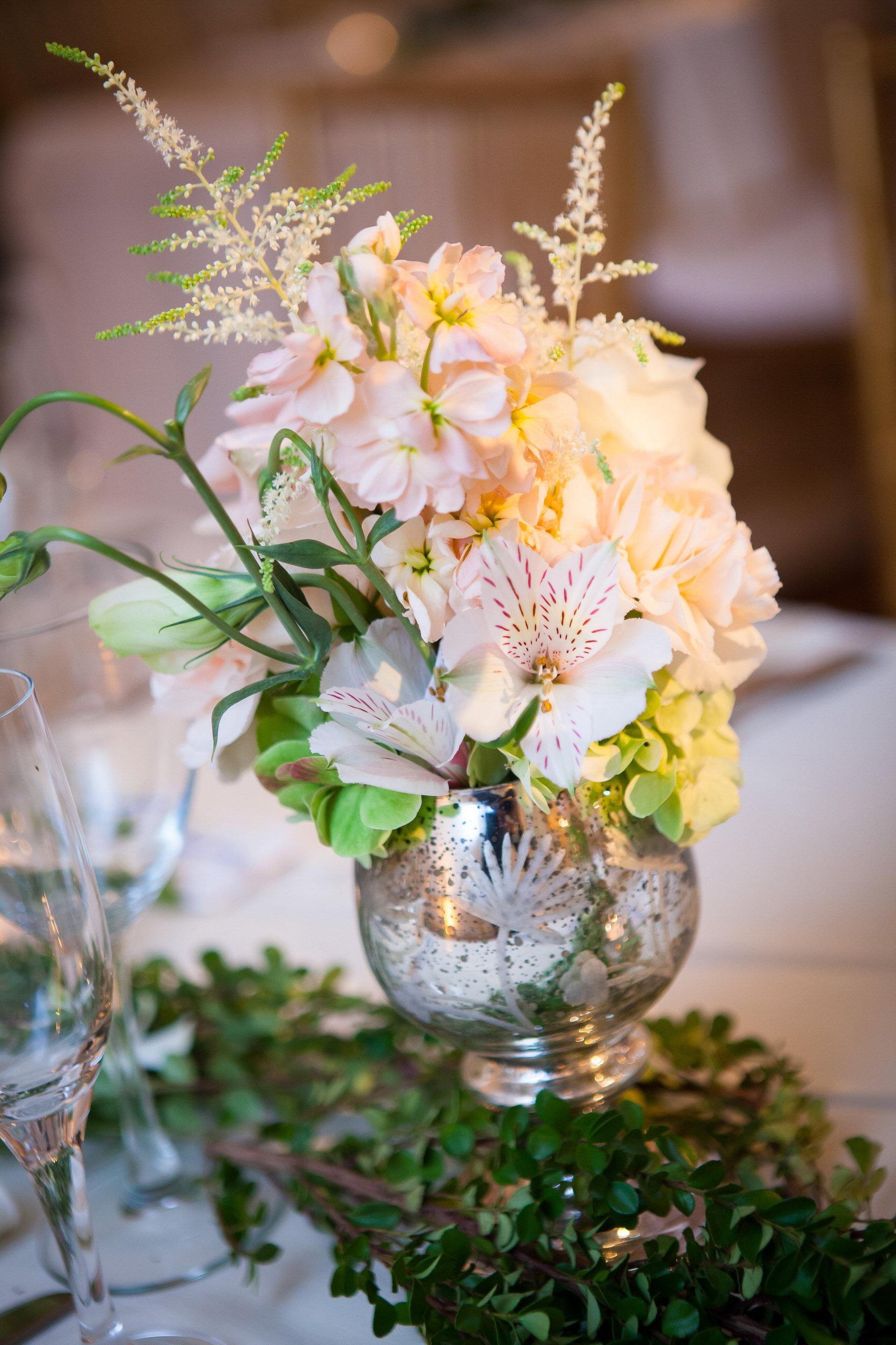 75 Pale Pink Soft Green Wedding Centerpiece Mercury Glass Soft Romantic Centerpiece Historic Yellow Springs.jpg