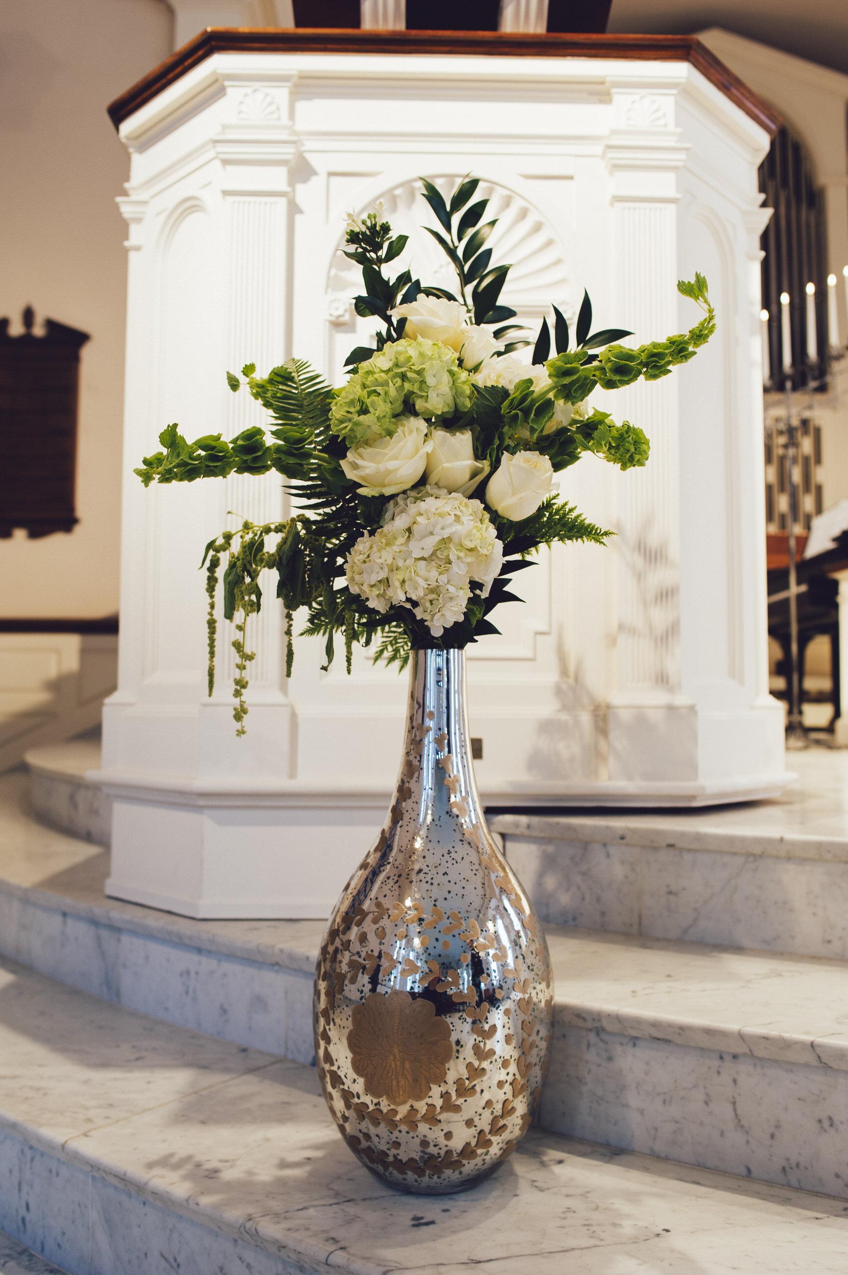 02 Mercury Glass White Flowers Greenery Ceremony Decor Wilmington Wedding Florist.jpg