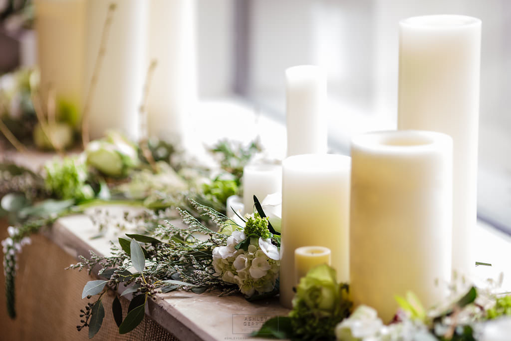 14 Ceremony by Candlelight Greenery White Rose Green Rose Altar Decoration.jpg