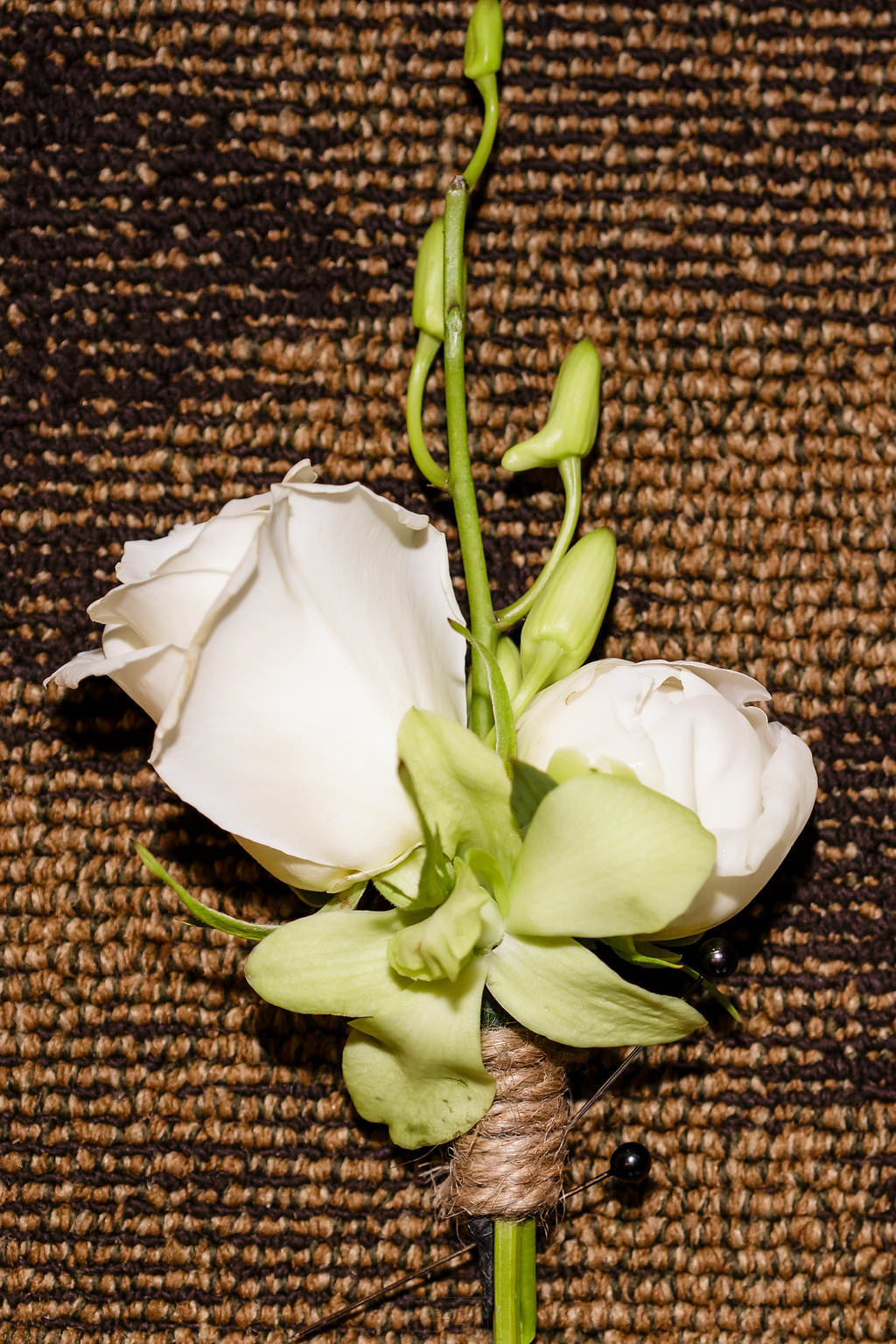 20 White Rose Peony Green Orchid Corsage Natural Theme Wedding Flowers.jpg