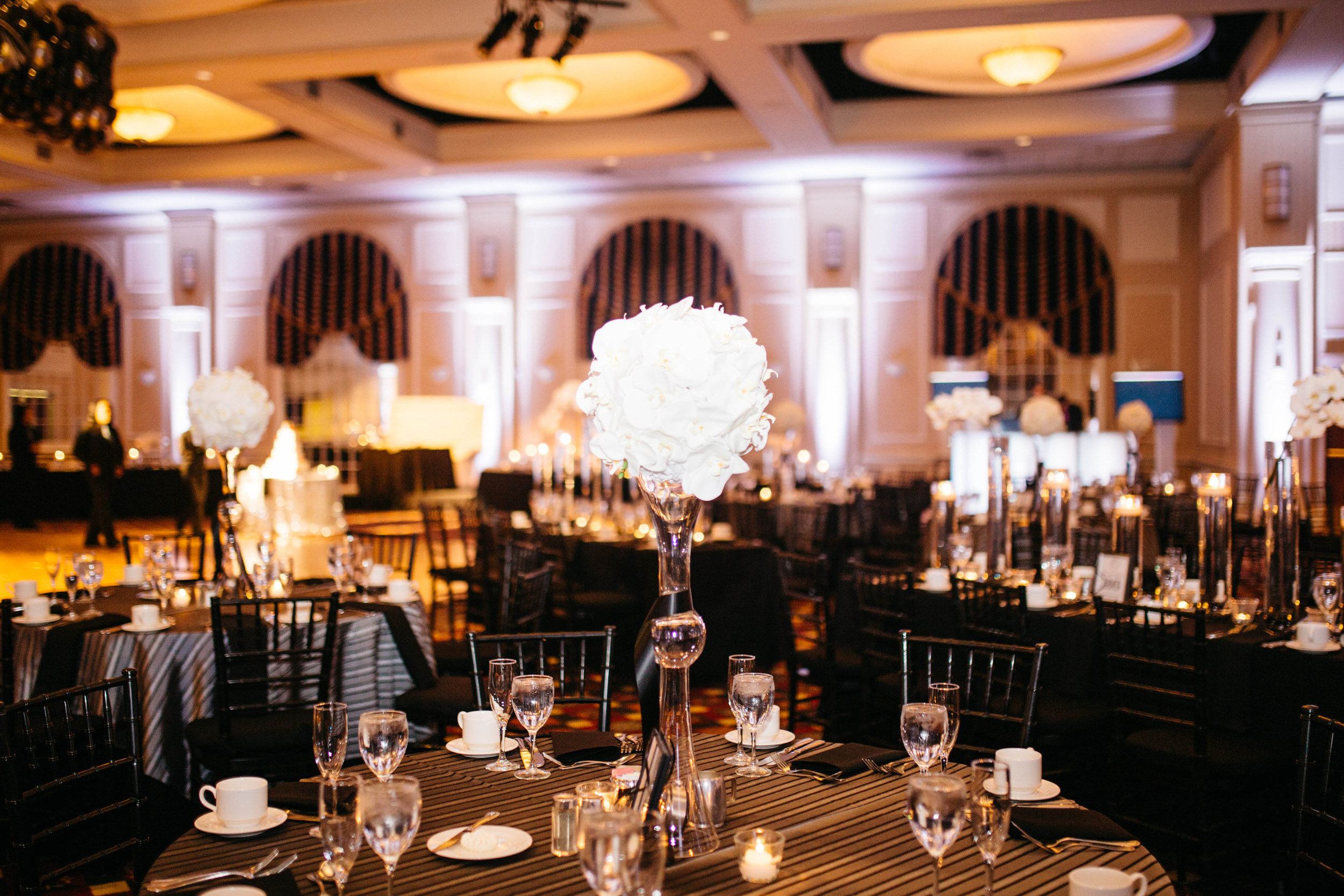 25 White Orchid Sphere Black and White Wedding Trumpet Vase.jpg