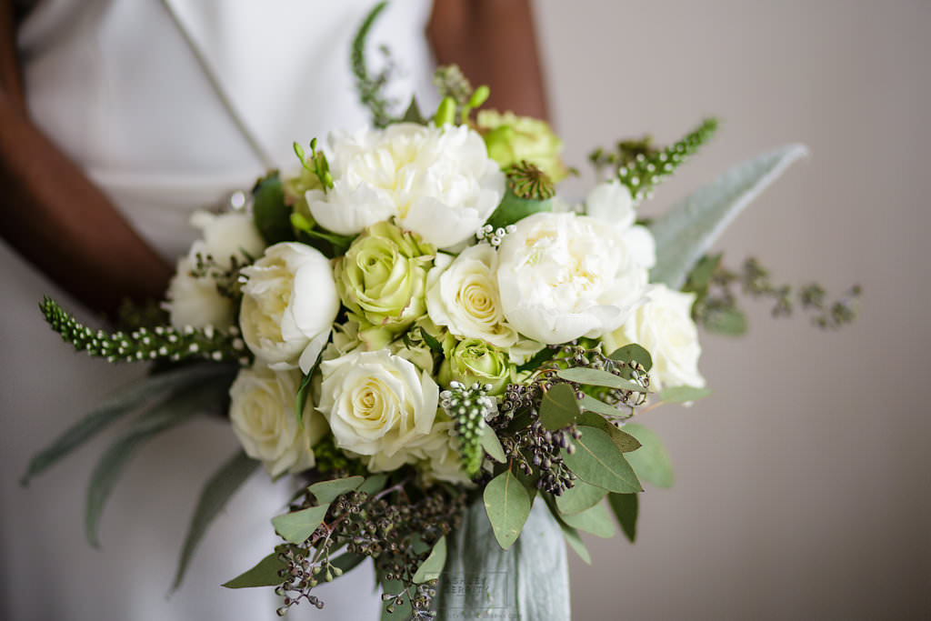 11 White Rose Dusty Miller Peony Greenery Bouquet Philadelphia Wedding Florist.jpg