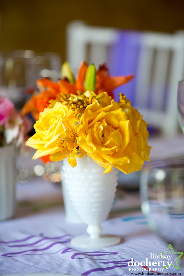 64 Yellow Rose Orange Daylily Wedding Centerpiece Chester County Wedding Florist.jpg