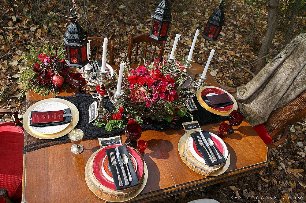 57 Woodland Wedding Farmhouse Table Silver Candelabra Red Rose Black Velvet Wood Details.jpg