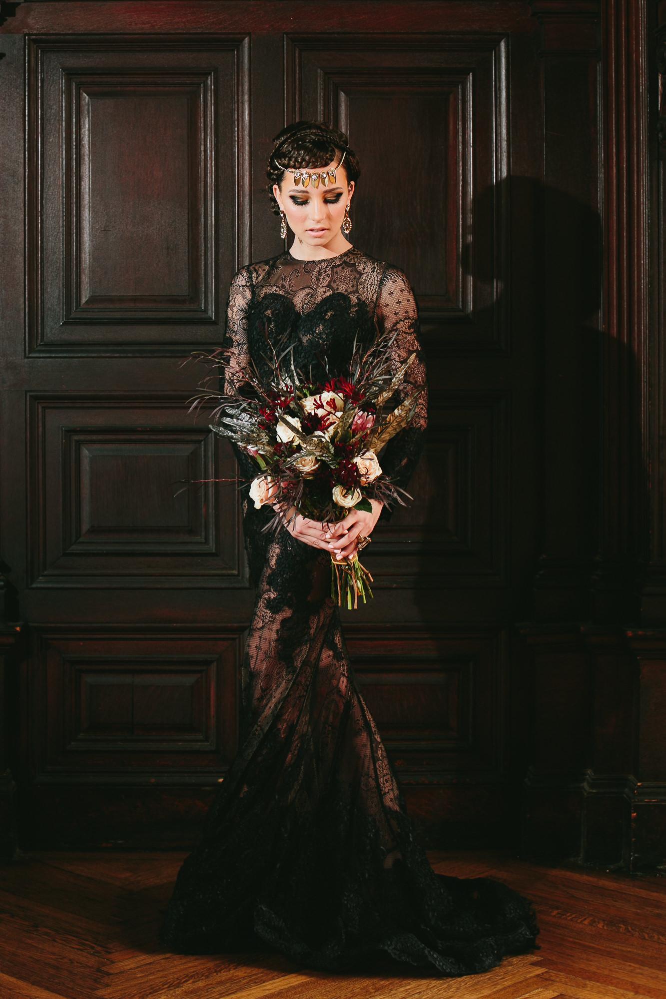 65 Black Lace Wedding Feather Bouquet Highline Hotel NYC.jpg