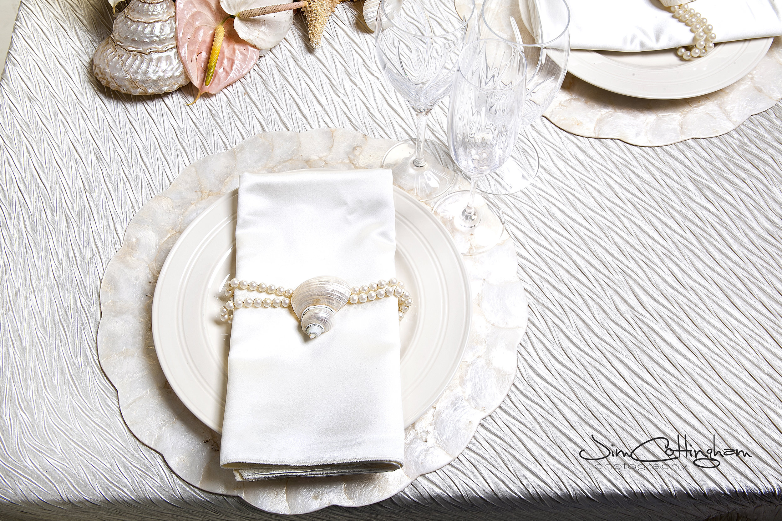 01 Philadelphia Wedding Florist Under the Sea Centerpiece Seashell Anthurium Pearls.jpg