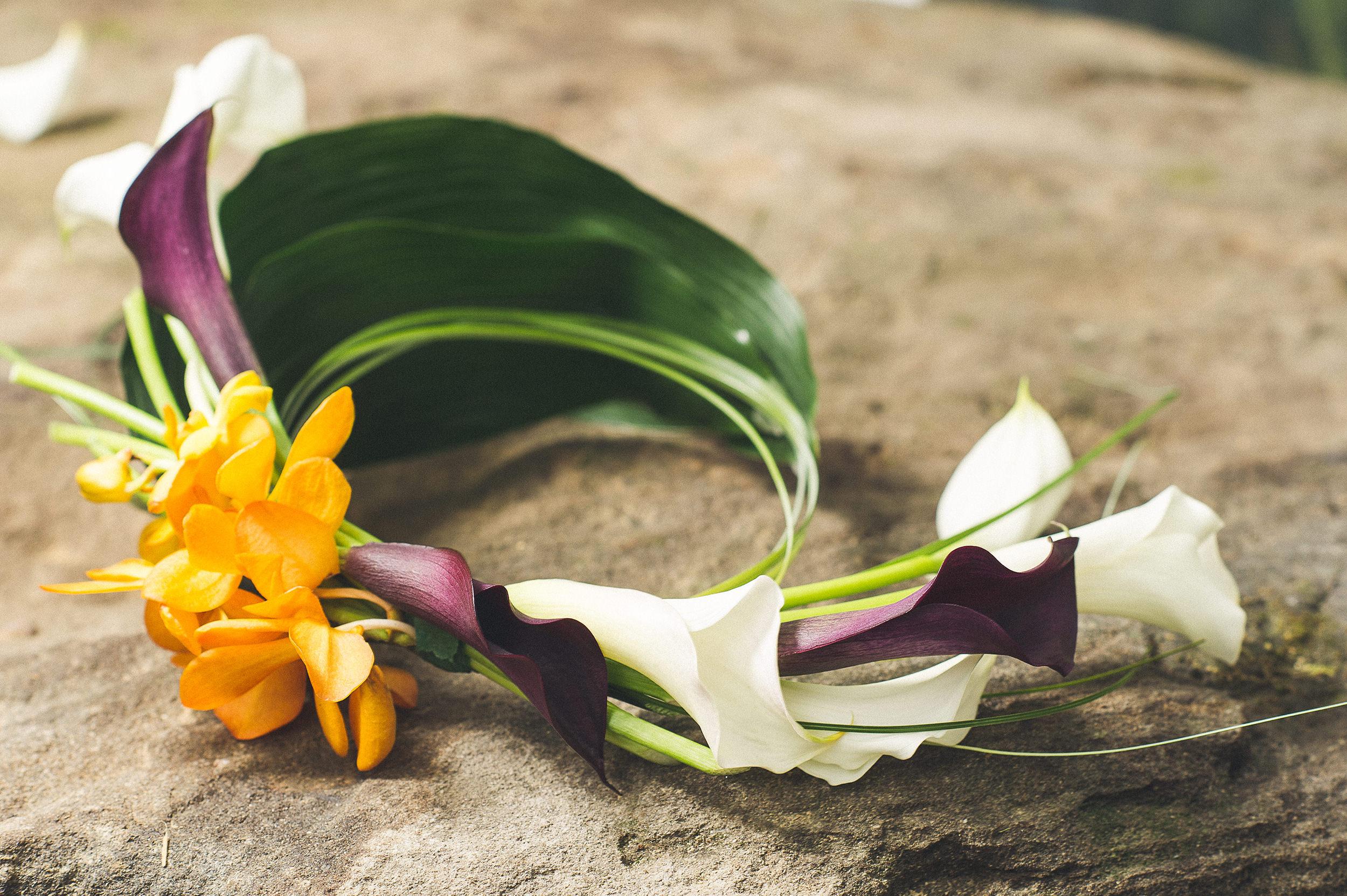 16 Custom Bridal Bouquet Infinity Loop Orange White Purple.jpg