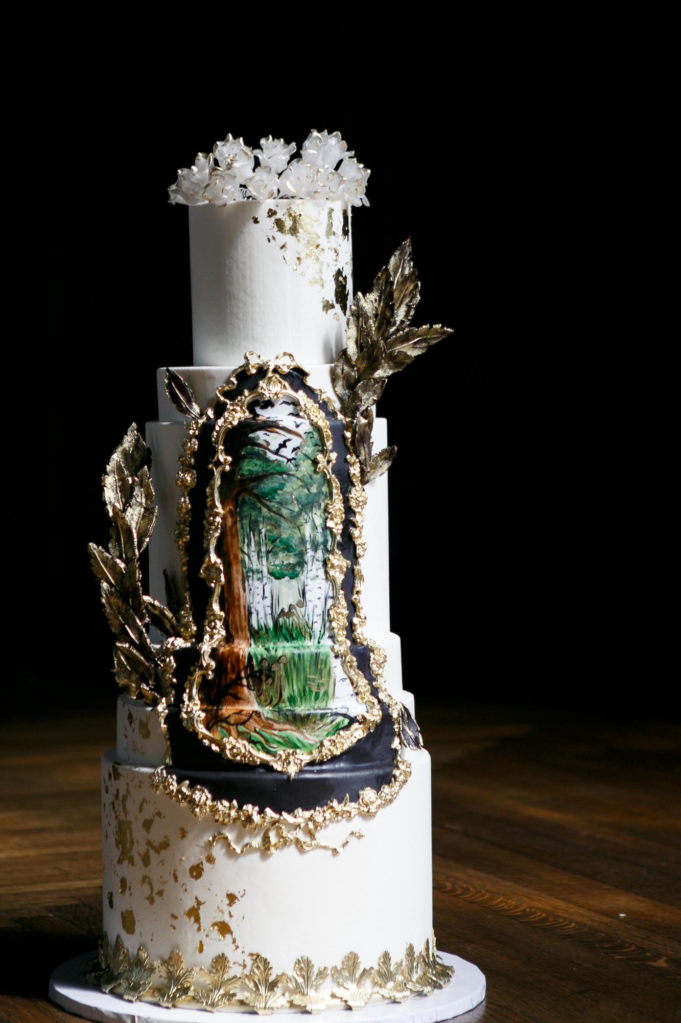 21 Woodland Wedding Cake Hand Painted Wedding Cake.jpg
