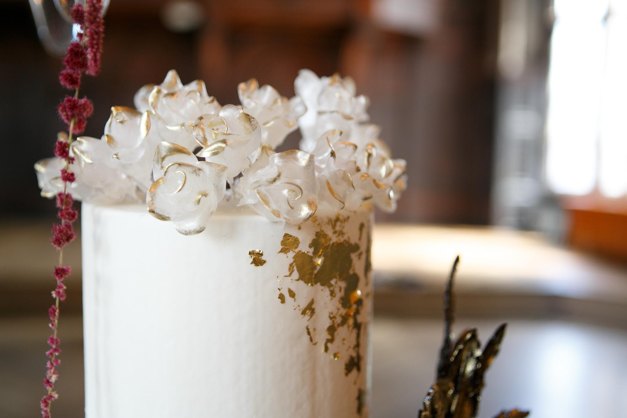 24 spun sugar gold tipped wedding cake evil queen wedding inspiration.jpg