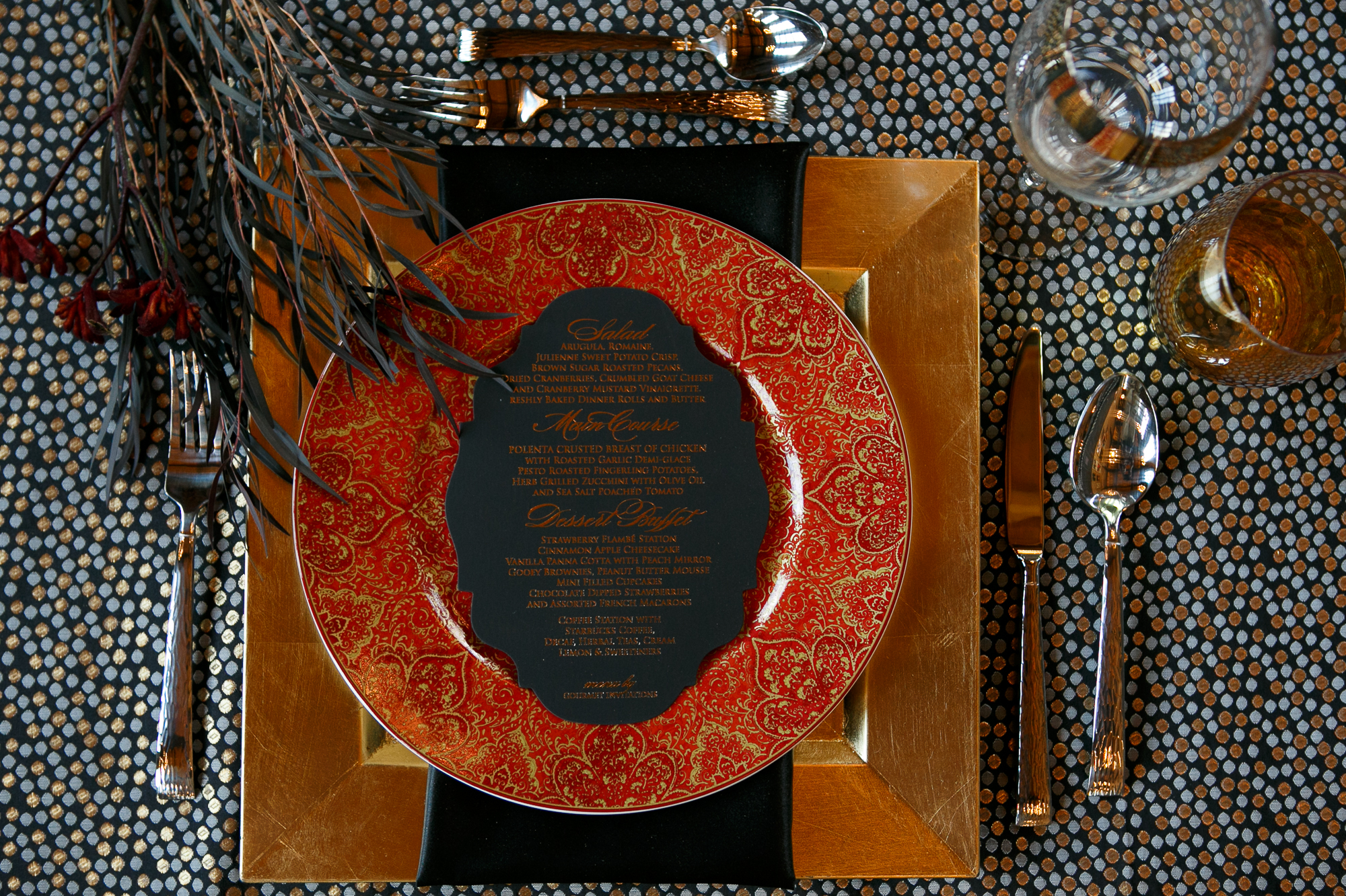 09 Wicked Queen Wedding Inspiration Place Setting Gold Red Black Wedding.jpg