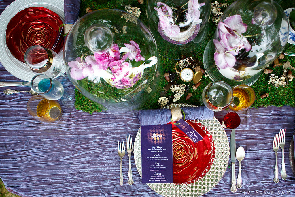 19 Alice in Wonderland Wedding Inspiration Tablescape Wedding Design Red Rose Plate Potted Orchids Teacups Wedding Centerpiece Aribella Events.JPG